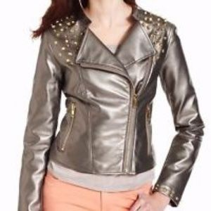 PINK ENVELOPE FAUX LEATHER GOLD METAL JACKET M